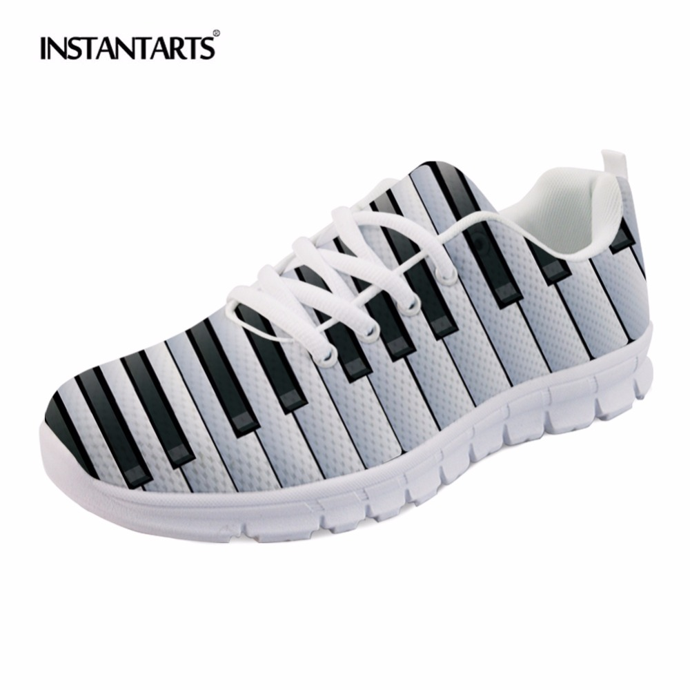 INSTANTARTS Music Notes with Piano Keyboard Prints Sneakers Women's Casual Flats Lace Up Female Lady Breathable Flat Shoes Woman instantarts casual women s flats shoes emoji face puzzle pattern ladies lace up sneakers female lightweight mess fashion flats