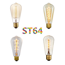 купить 2 pcs 40W Vintage Edison Light Bulb ST64 E27 110V 220V Retro Incandescent Light Filament Edison Lamp Light Bulb онлайн