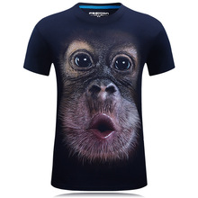 2019 summer Mens brand clothing O-Neck short sleeve animal T-shirt monkey/lion 3D Digital Printed T shirt Homme large size