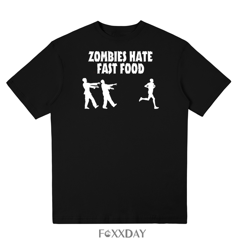 Casual short sleeve loose zombies hate fast food t-shirt men 100% cotton T shirt crewneck cool funny mens tee 2018 new arrivals
