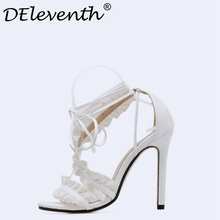 DEleventh Gladiator Sandals Women High Heels Sexy Party Shoes Lace-Up Ruffles stringy selvedge Sandals Woman Shoes Female White