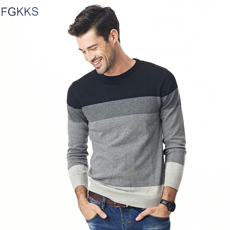 FGKKS 2017 New Autumn Fashion Brand Casual Sweater O-Neck Striped Slim Fit Knitting Mens Sweaters And Pullovers Men M-5XL