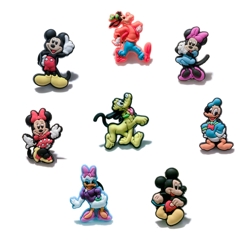 Retail 8PCS Mickey Minnie PVC shoe charms shoe accessories shoe buckle for wristbands croc kids favor Birthday GiftRetail 8PCS Mickey Minnie PVC shoe charms shoe accessories shoe buckle for wristbands croc kids favor Birthday Gift