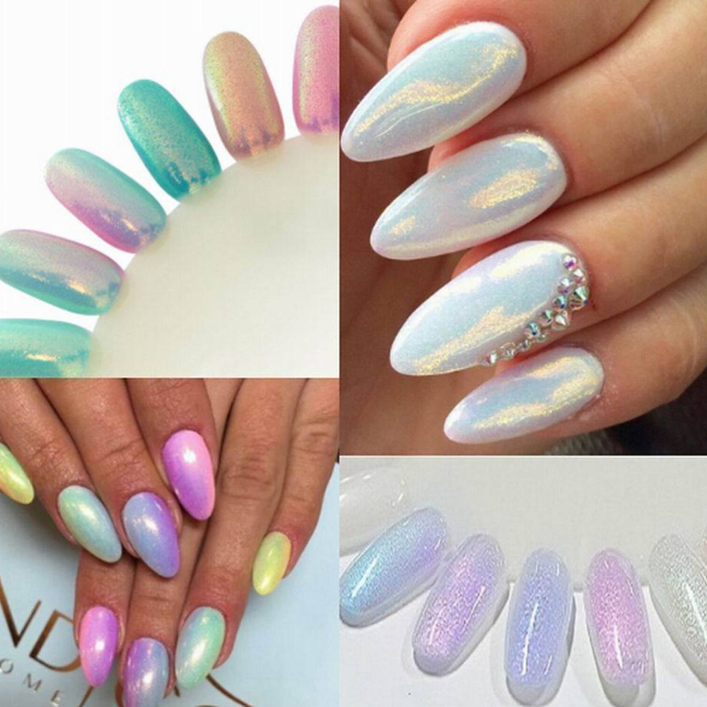 Colorful UV Gel Nails Art Mermaid Effect Nail Glitter Polish Sparkly ...