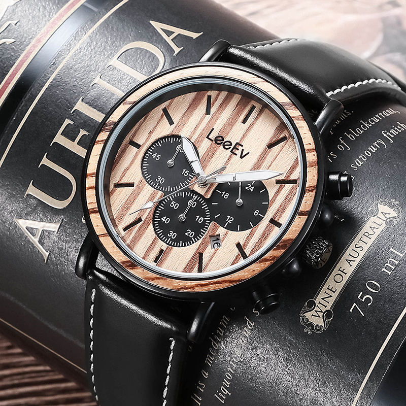 LeeEv Wood Watch for Men Luxury Leather Strap Band Wood & Stainless Steel Chronograph Military Quartz Wrist Watches все цены