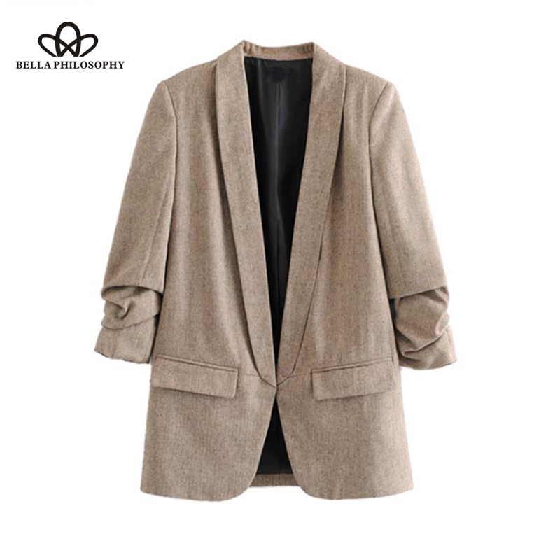 Bella Philosophy Women Chic Twill Blazer Gathered Three Quarter Sleeve Pockets Office Wear Coat Notched Collar Vintage Outerwear