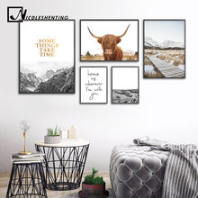 Wall Art Landscape Canvas Poster Nordic Print Mountain Highland Cow Painting Scandinavian Decoration Picture Living Room Decor(China)