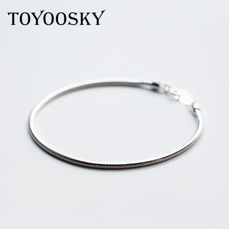 925 Sterling Silver Round Bracelets Bangles For Women 2mm Snake Bone Bracelet Contracted Fashion Silver Jewelry
