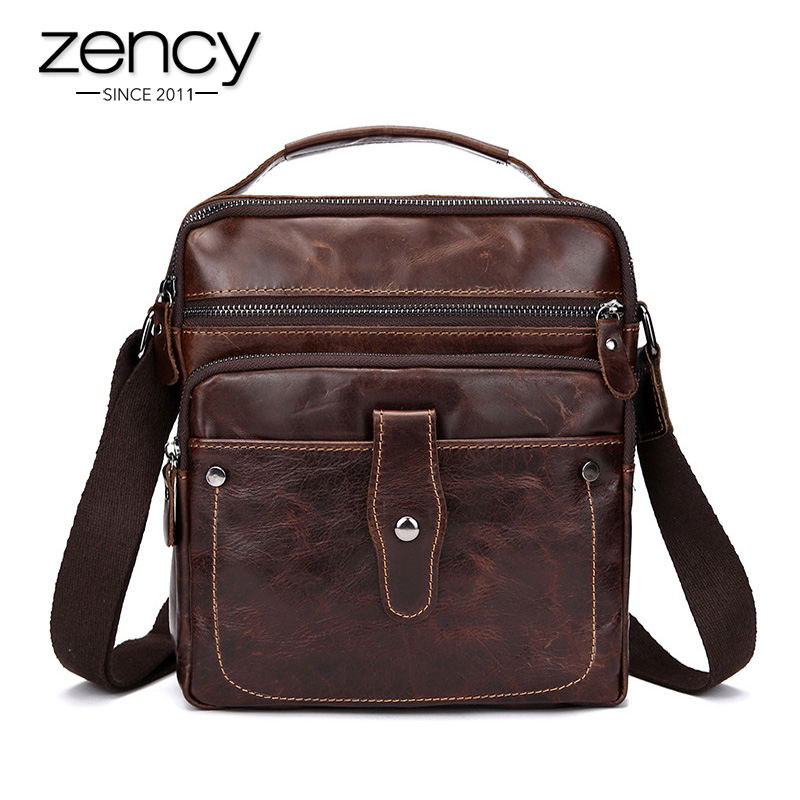 Zency New Fashion Cowhide Man Messenger Bags 100% Genuine Leather Male Cross Body Bag Casual Men Commercial Briefcase Bag ZCM001 deelfel new brand shoulder bags for men messenger bags male cross body bag casual men commercial briefcase bag designer handbags