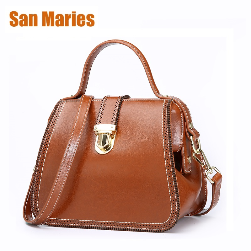 San Maries Bolsas Feminina Retro Women Messenger Bags Handbags Doctor Bag Fashion Designer Shoulder Woman Genuine Leather Totes