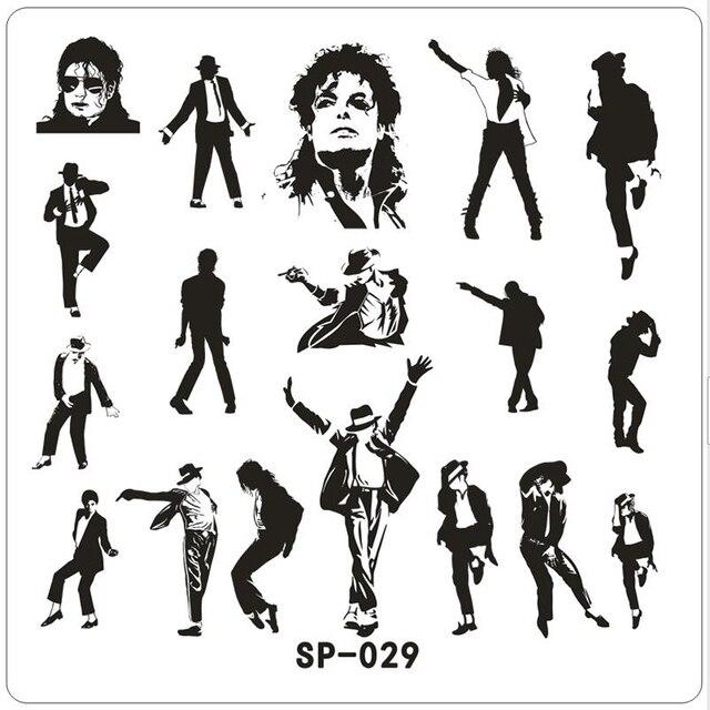 1 Unids 6*6 cm Nail Art Plantillas de Michael Jackson Imagen ...