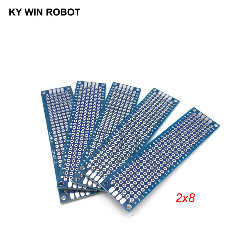 5pcs 2x8cm 20x80 Mm Blue Double Side Prototype PCB Universal Printed Circuit Board Protoboard For Arduino