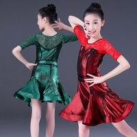Modern Girls Latin Ballroom Dance Dresses Rumba Tango Performance Costumes Lace Sleeve Teen Latino Dress