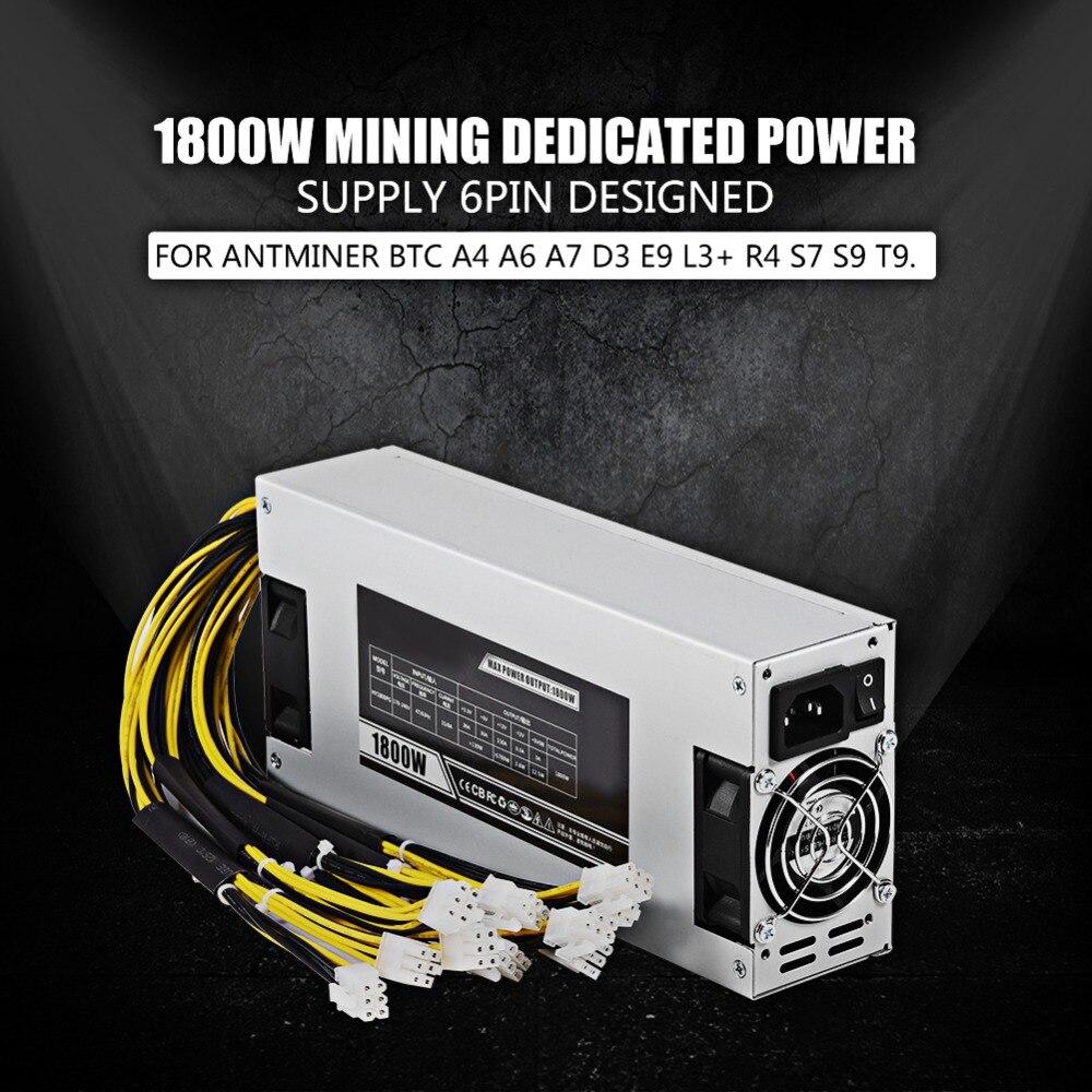 Hot Sale 1800w 93% Mining Dedicated Power Supply 6pin For Antminer Btc A4 A6 A7 D3 E9 L3+ R4 S7 S9 T9 Dual Fan 80*80mm