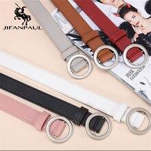 JIFANPAUL Женские Простые универсальные пояса из натуральной кожи модные панк круглые пряжки декоративные джинсы Тонкий ремень