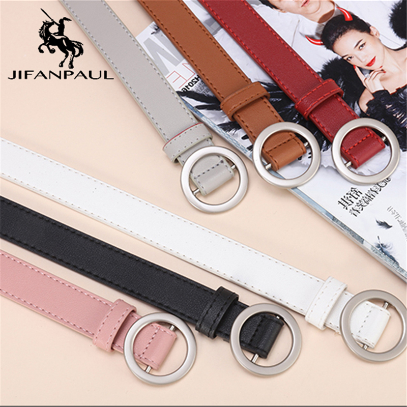 JIFANPAUL ladies simple versatile belt ladies pure leather fashion punk round pin buckle decorative jean thin belt free shipping