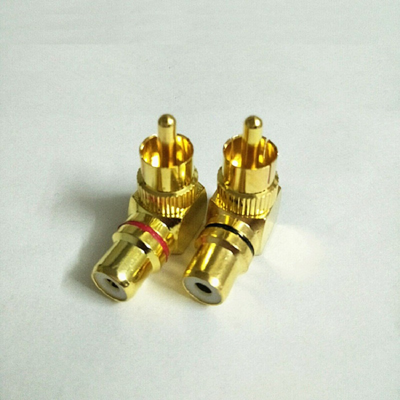 Copper Plated L-type RCA 90-degree Male Female Converter Head Wall Signal Line Lotus AV Plug Bend RCA Plug Jack Converter