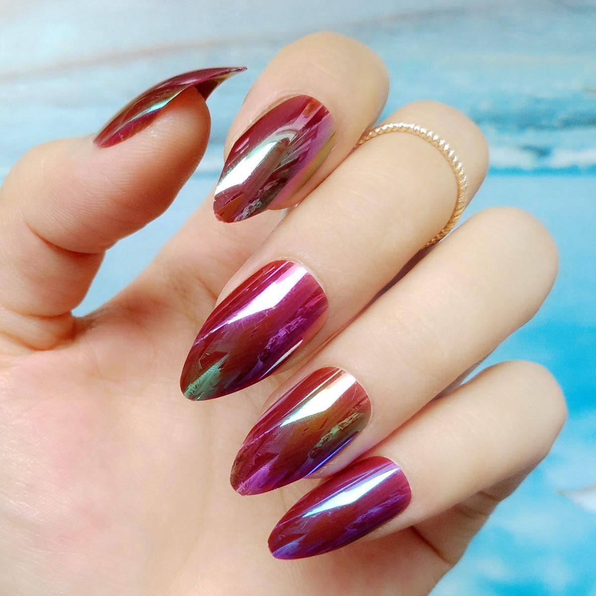 Online Shop Chameleon Mirror Short Stiletto Nails Holographic Dark ...