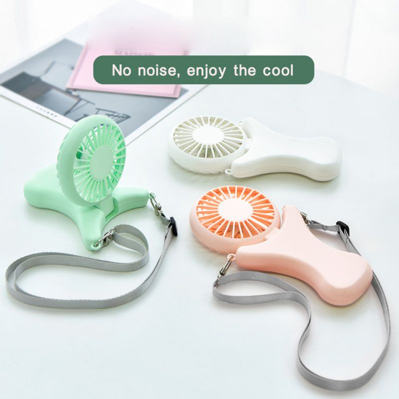 <font><b>2000mAh</b></font> USB Portable Hands-free Neck Hanging Fan Rechargeable Air Cooler Sports <font><b>3</b></font> gears Hand Held Desktop Electric Fan for Trave image