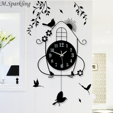 M.Sparkling Wall Decorations Lively Spring Scene Magpie Flower Sun Wall Clocks Mute Home Hanging Wall Watches Chriatmas Gifts