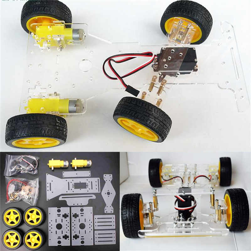 High Quality Inteligent Diy Steering Engine 4 Wheel 2 Motor Smart Robot Car Chassis Kit Diy Robot Kit For Arduino