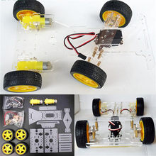 High Quality Inteligent DIY Steering Engine 4 Wheel 2 Motor Smart Robot Car Chassis Kit DIY Robot Kit For Arduino(China)