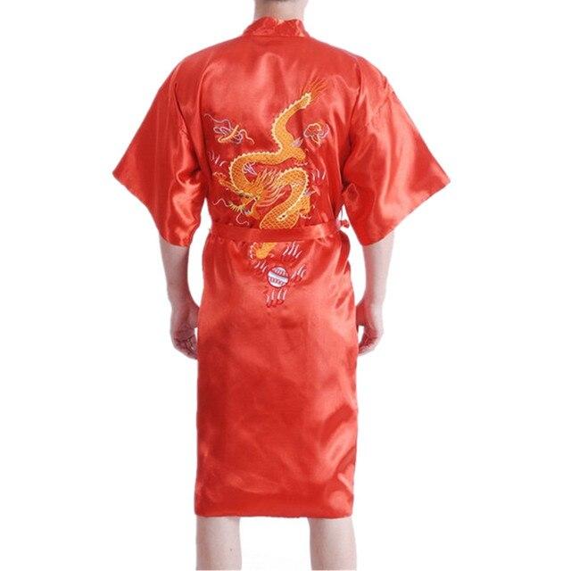 926c177f7c Chinese Men s Satin Robe Embroidery Dragon Kimono Bath Gown Spring Autumn Nightwear  Sleepwear Size S M L XL XXL XXXL