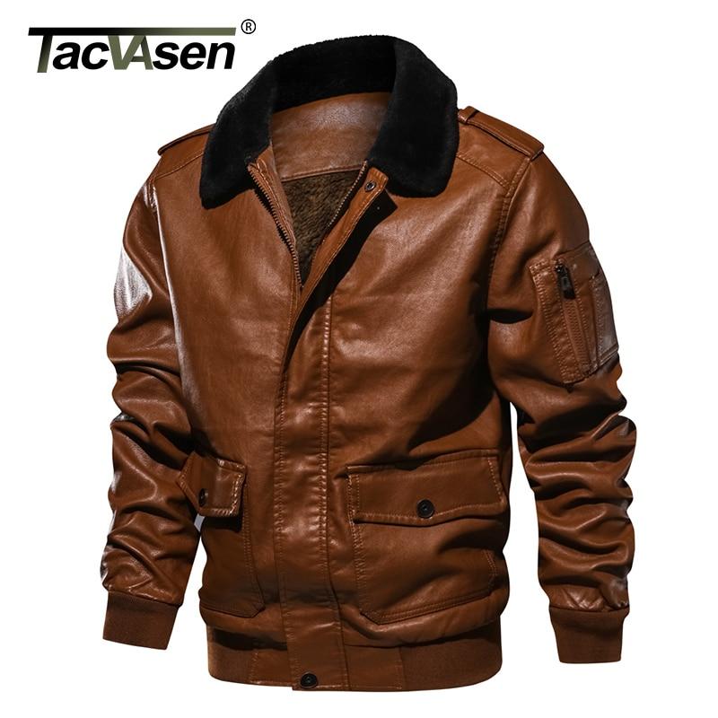 908b57f5a3d TACVASEN Men Leather Jacket Winter Bomber Jacket Autumn Military Fleece Jacket  Coat Motorcycle Windbreaker EUR Size