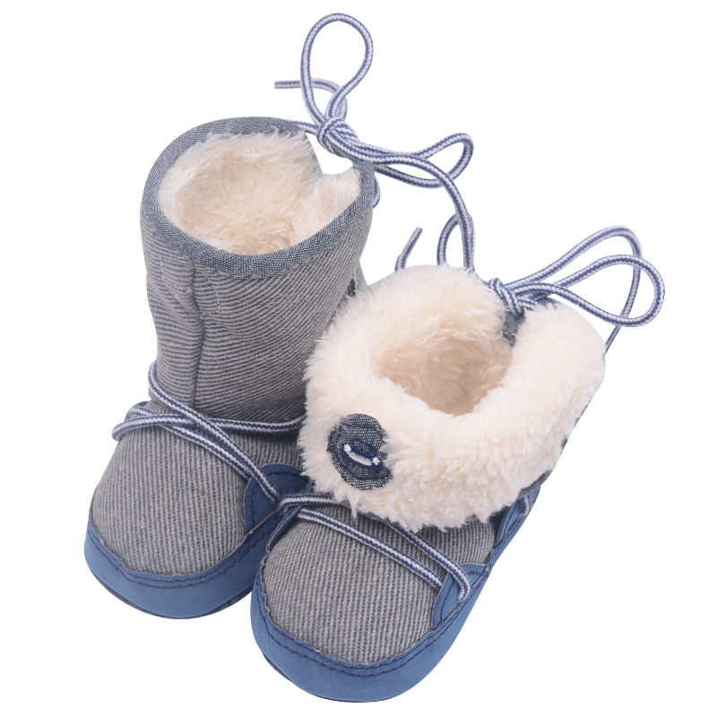 0 18M Winter Warm Baby Boys Snow Boots Lace up Strip Soft Sole Kids Cotton Adorable