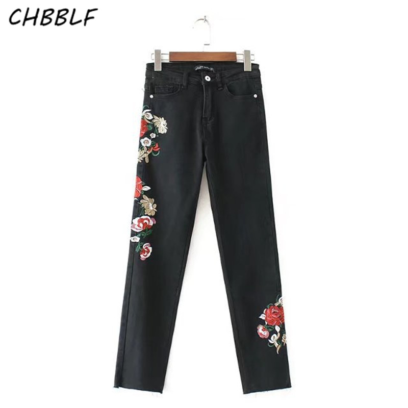 Spring New Women Skinny Denim Jeans Womens Ladies Stretch Pants Flowers Embroidery Women Black Jeans XDC739 2017 spring new women sweet floral embroidery pastoralism denim jeans pockets ankle length pants ladies casual trouse top118
