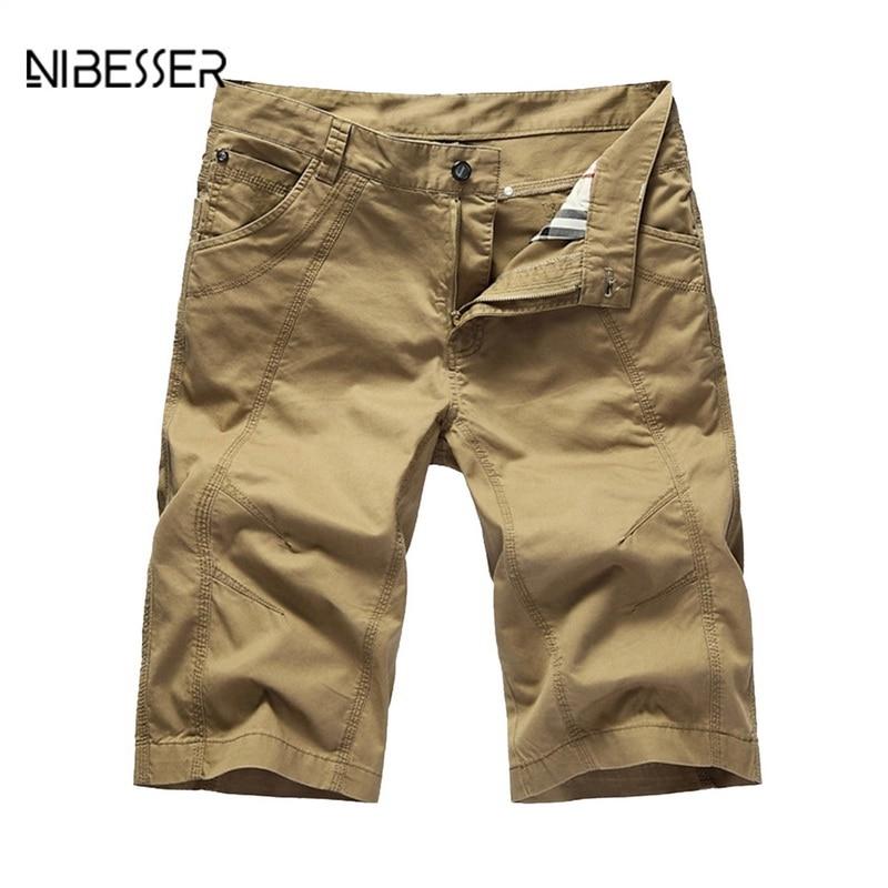 NIBESSER Plus Size Casual Loose Men Short Pants Solid Loose Summer Men Shorts Military Zipper Knee Length Men Cargo Shorts