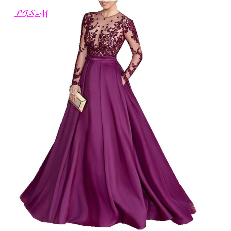 Purple Long Sheer Sleeves O Neck Celebrity Dress Woman Red Cerpet Dresses A-Line Beaded Satin Evening Gowns Robe De Soiree