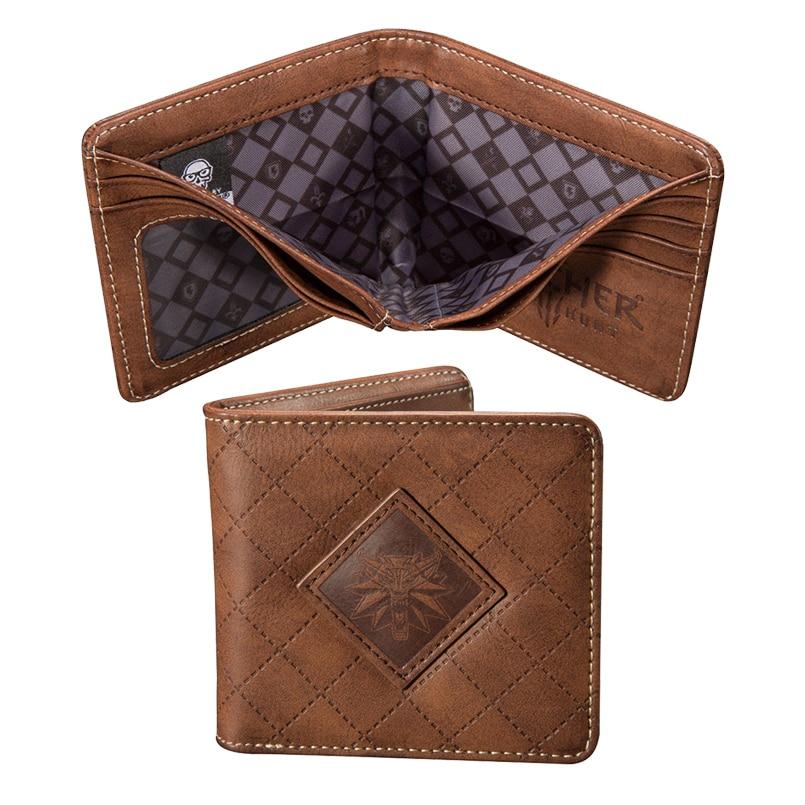 NEW The Witcher 3 Wild Hunt Wolf Wallet - Mens Brown Logo Wallet man wallet cardholder wallet