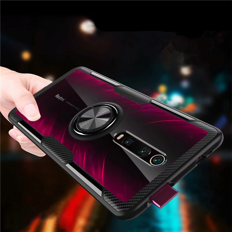 For Xiaomi Mi9T Mi 9T Pro Case Luxury Magnetic Ring Transparent Clear Glass Back Cover for Redmi K20 Pro Car holder Stand Cases-in Fitted Cases from Cellphones & Telecommunications
