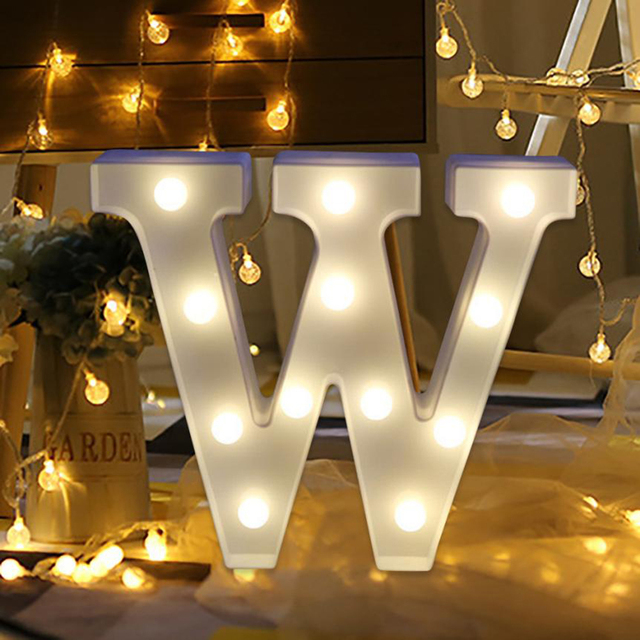 Fghgf 2018 Letter Lights Led Light Up White Plastic Letters Standing Hanging N Z 2xaa Batteries Warm Show Love Friend