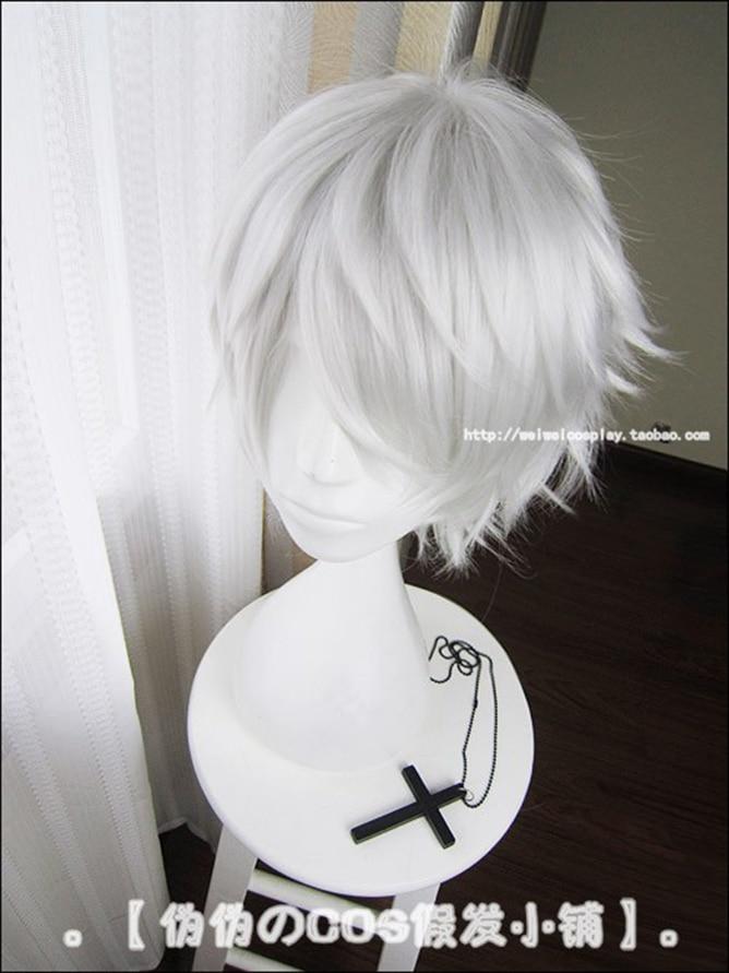 Anime Tokyo Ghoul Kaneki Ken Short Silver White Heat Resistant Hair Cosplay Costume Wig + Free Wig Cap 2