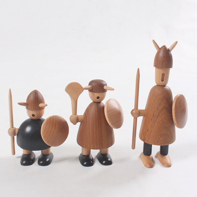 Us 3697 14 Offeurope Denmark Wooden Vikings Figurines High Grade Home Decoration Figurines Teak Wood Arts And Crafts Kids Gifts In Figurines