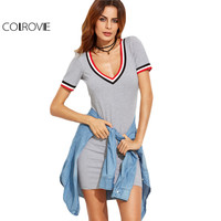 COLROVIE Striped Trim Grey Casual Tee Dress 2017 Basic Short Sleeve Women V Neck Sexy Summer