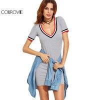 COLROVIE Striped Trim Grey Casual Tee Dress 2017 Basic Short Sleeve Women V Neck Sexy Summer