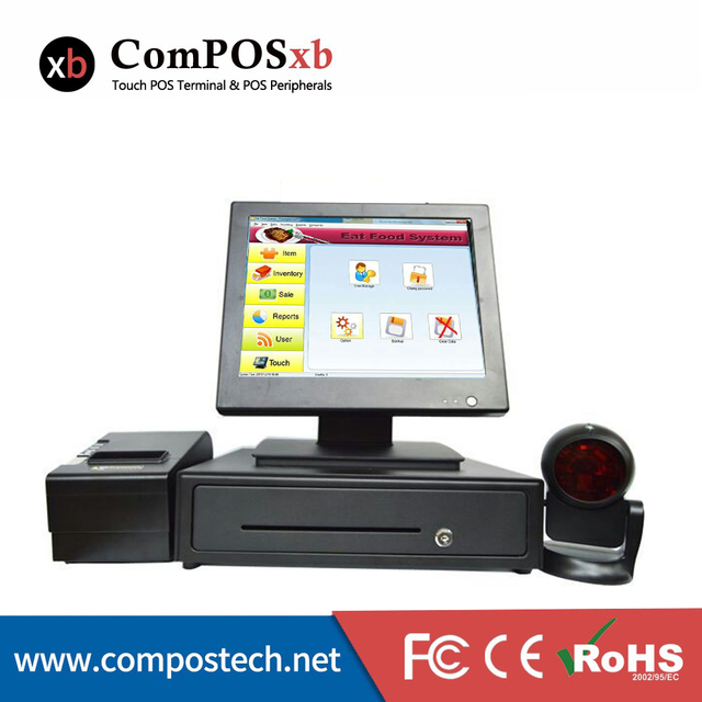2016 Brand new 15 inch TFT Moniter Pos System Pos Machine All In One Touch Screen POS whole set of pos solution for retail store