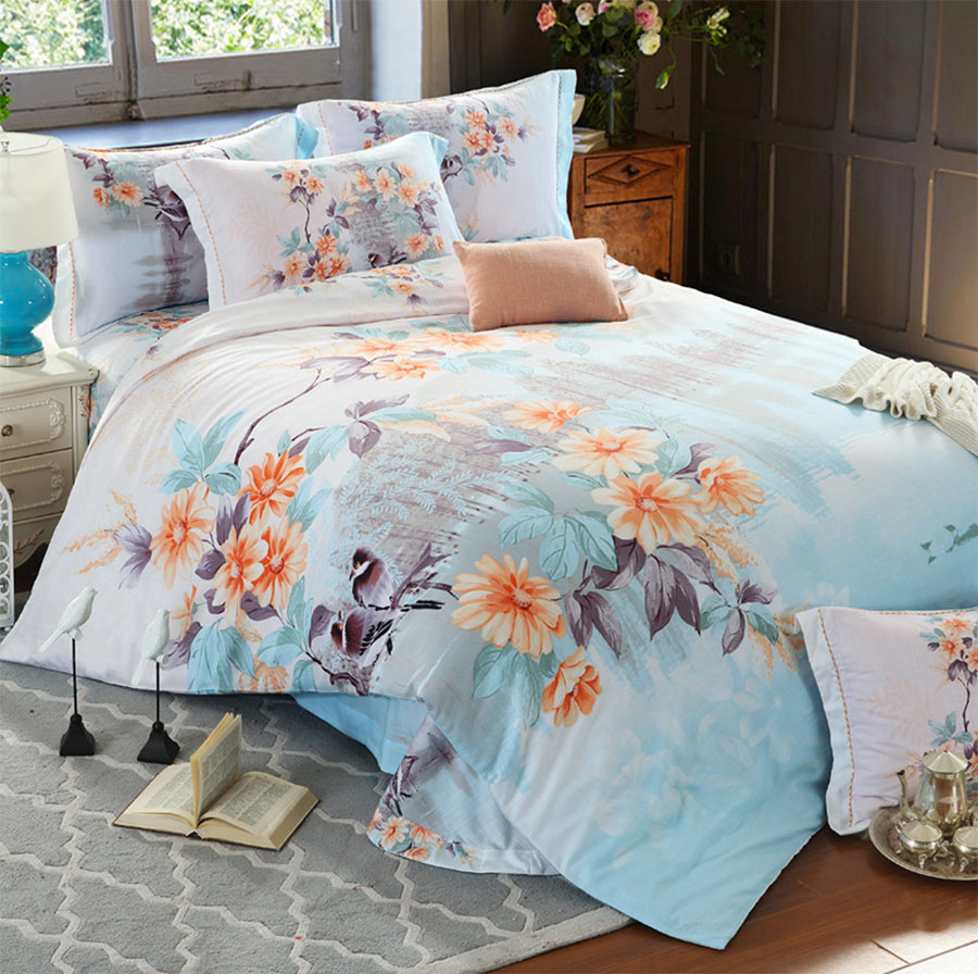 Colorful flower bedding - Vintage Flower Double Bedding Sets Adult Teen Girl Full Queen King Retro Floral Home Textiles
