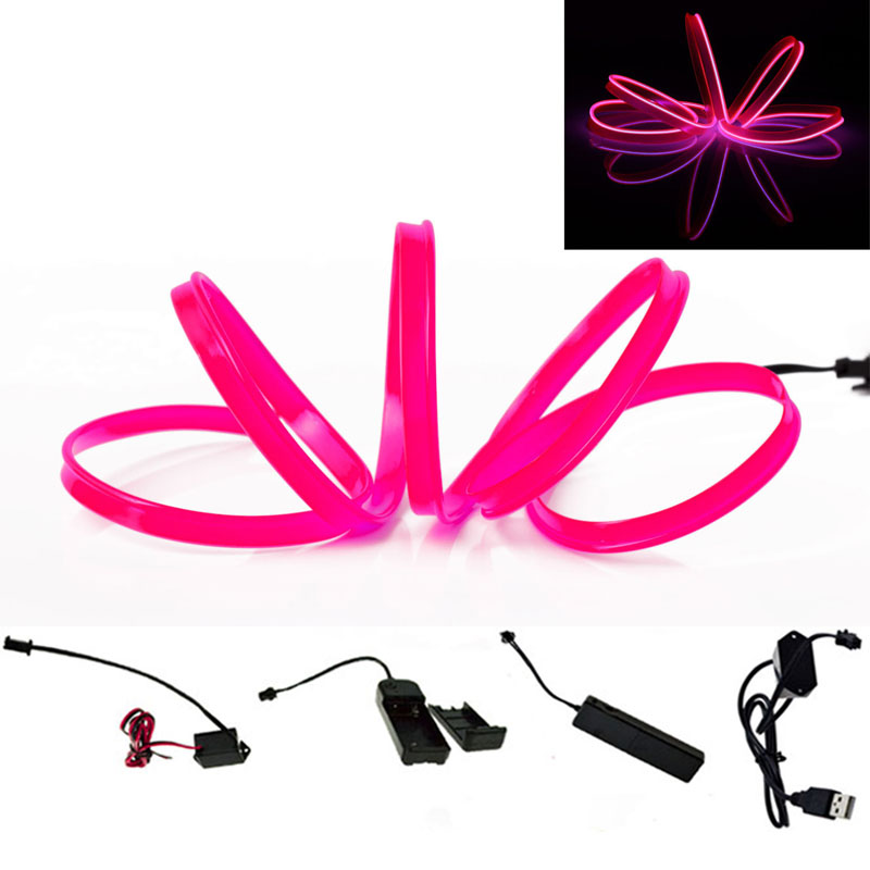 1PCS EL Wire Neon Light Dance Festival Party Car Decor Light Flexible EL Wire lamps Rope Tube LED Strip Pink With USB Controller