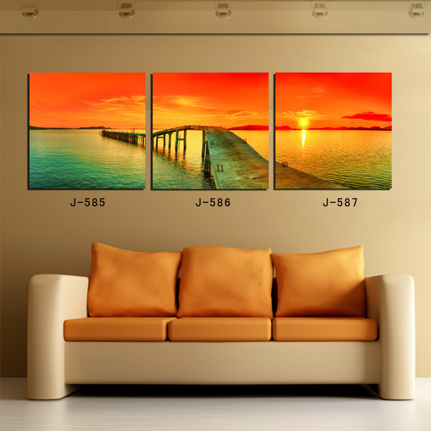 3 piece canvas sunset bridge wall pictures for living room nightfall decoration oil painting for Oil painting for living room