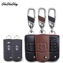 KUKAKEY Leather Car Key Case Cover For Mazda 2 3 5 6 CX5 CX-5 M2 M3 M5 M6 Smart Remote Car Protection Shell Accessories