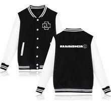 Rammstein Punk Style Black/Gray Women Baseball Coat Jacket in Rock N Roll Music Rammstein Womens Winter Jackets and Coats