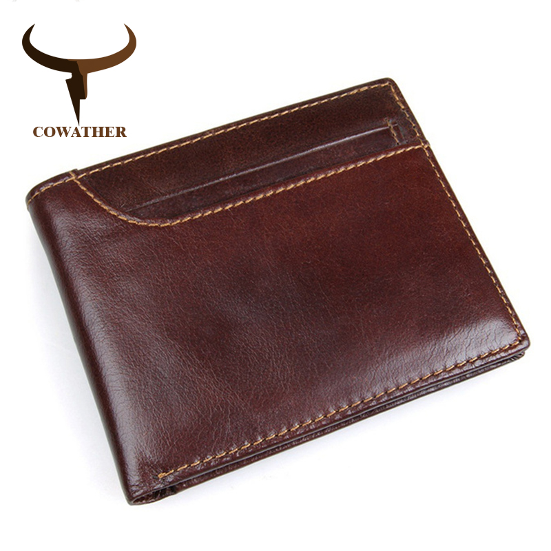 COWATHER 2017 100% top layer cow leather men wallets vintage short cross style new desgin leather male purse  8104 free shipping cowather new 100