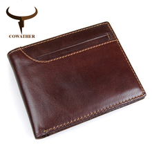 COWATHER 2017 100 top layer cow leather men wallets vintage short cross style new desgin leather