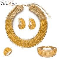 MUKUN Exquisiten indischen schmuck Goldene farbe Nigeria große Halskette afrikanische perlen schmuck set großhandel Muttertag geschenk Design