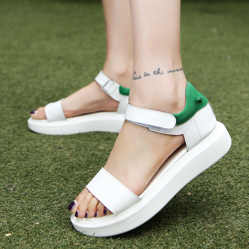 Platform Heel Leather Women Sandals Wedges Sandals Ladies 2018 Summer Open Toe Round Toe White Platform Sandals Casual Shoes vtota 2017 fashion wedges women sandals bling summer shoes woman platform sandalias soft leather open toe casual women shoes r25