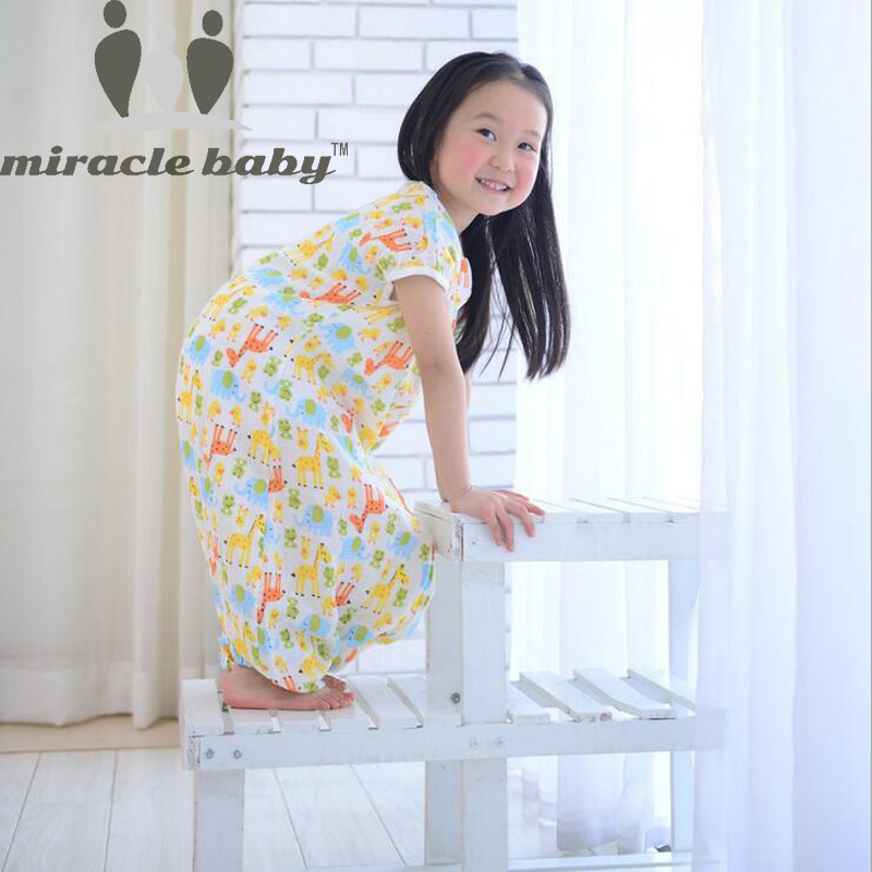 Miracle baby katoenen babyslaapzak Thinner 2 lagen zomer baby Sleepsacks Baby Kids nachtkleding kleding voor 0-5 jaar